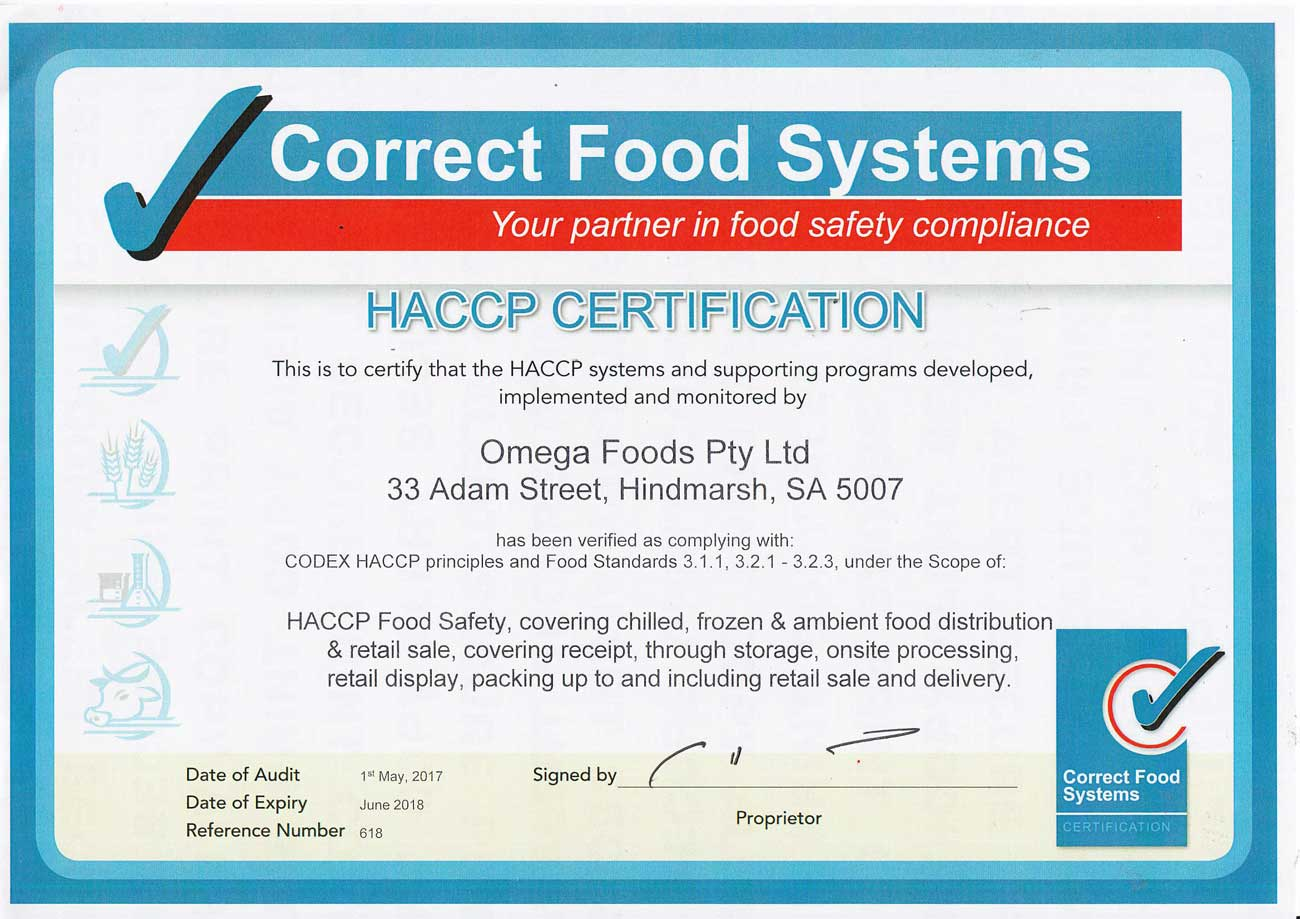 Omega Foods HACCP Certification 2017-18