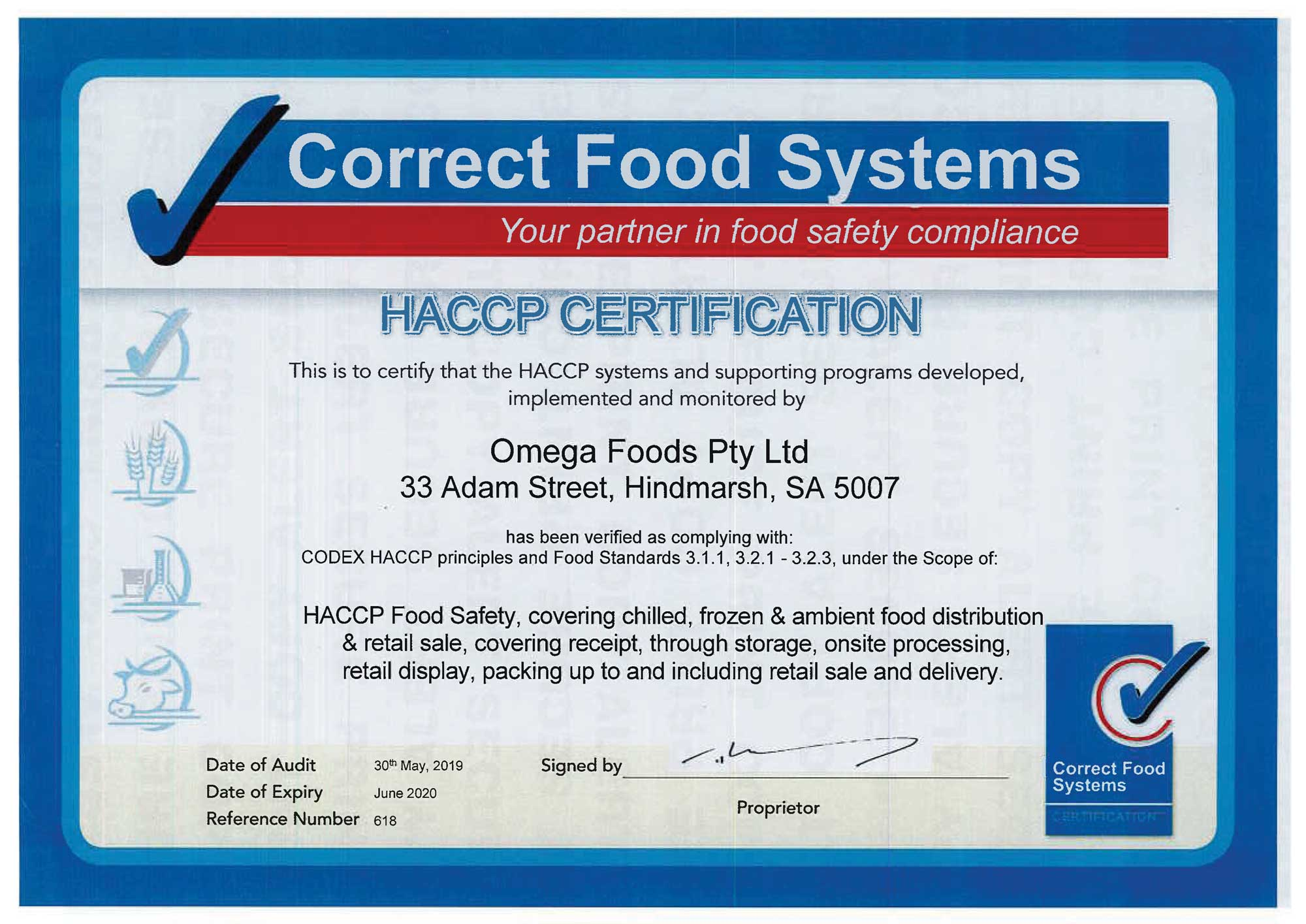 Omega Foods HACCP Food Safety Accreditation